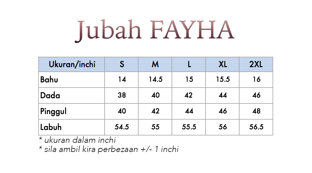 FAYHA UKURAN