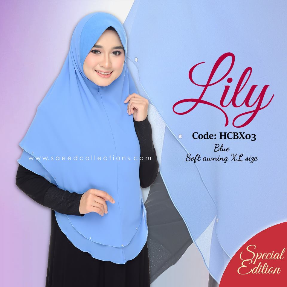 TUDUNG CHIFFON RAYA LILY SAIZ XL SPECIAL EDITION HCBX03