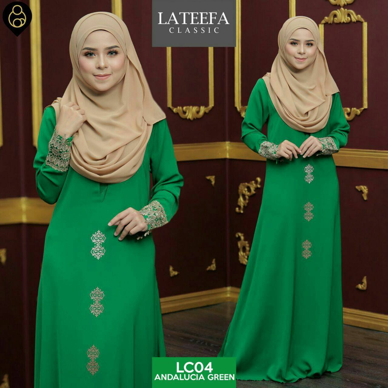 DRESS LATEEFA FURSAN LC04 GREEN
