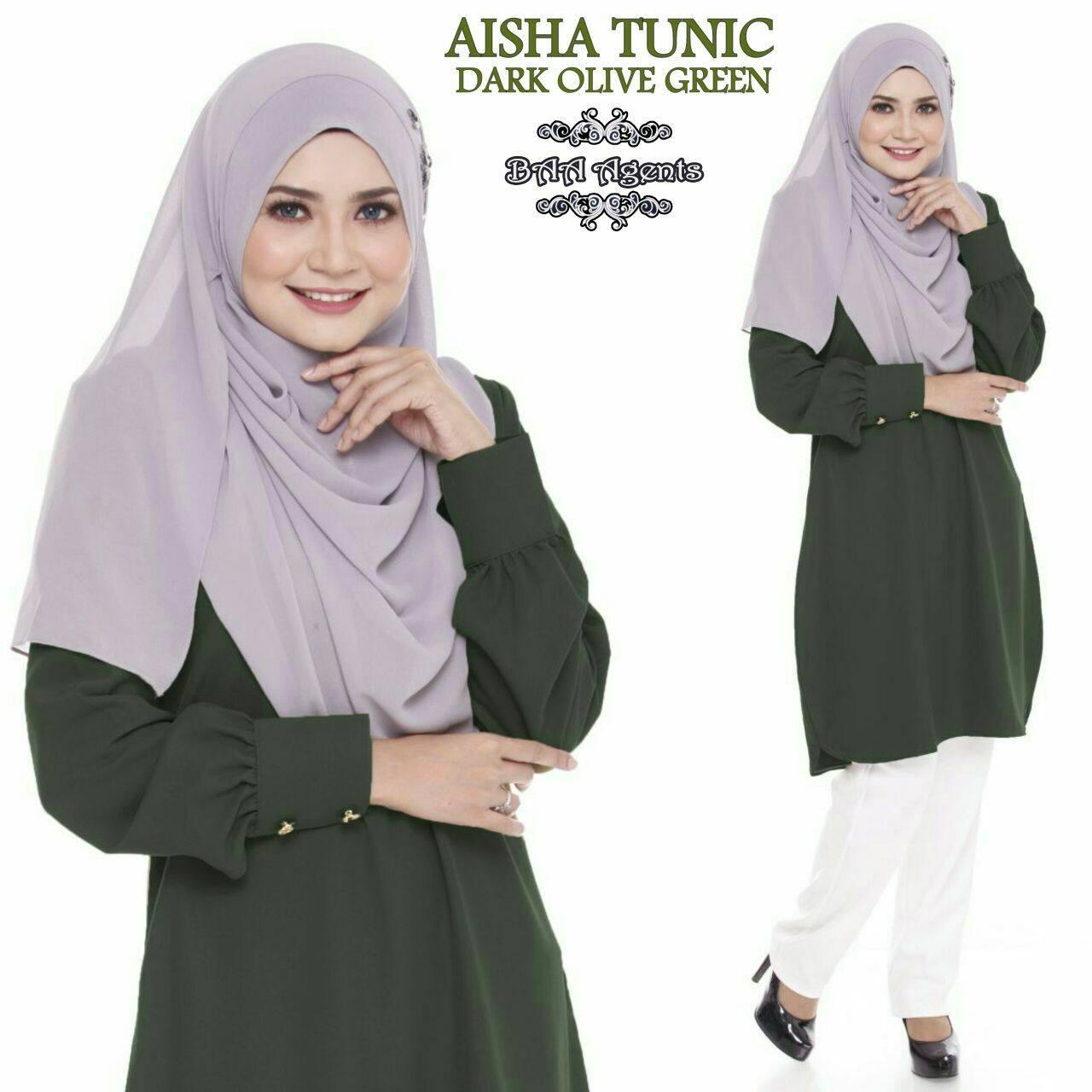 TUNIC MUSLIMAH AISHA DARK OLIVE GREEN