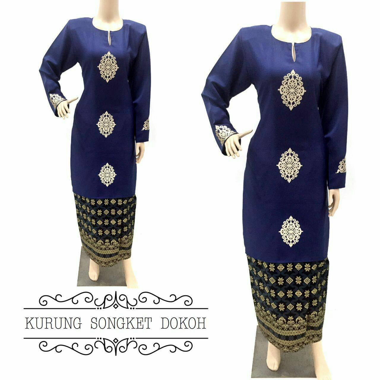 BAJU KURUNG MODEN COTTON SONGKET DARK BLUE