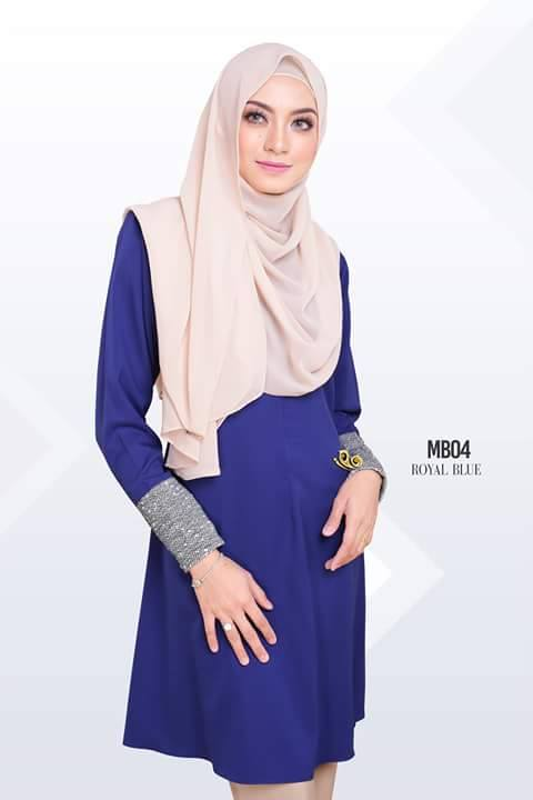 BLOUSE MUSLIMAH AMBER POLYCREPE ROYAL BLUE