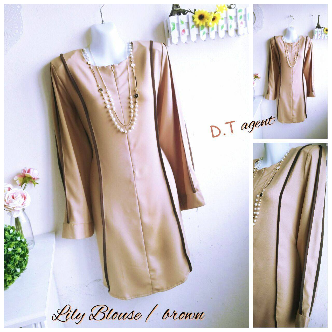 BLOUSE MUSLIMAH CREPE LILY BROWN