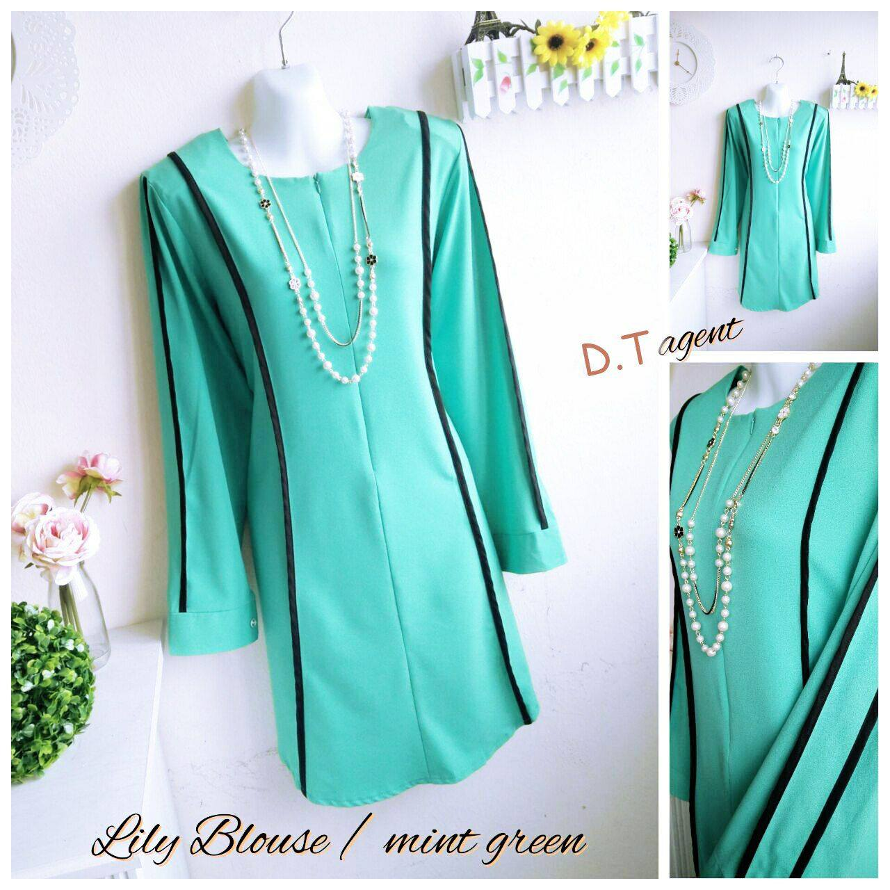 BLOUSE MUSLIMAH CREPE LILY MINT