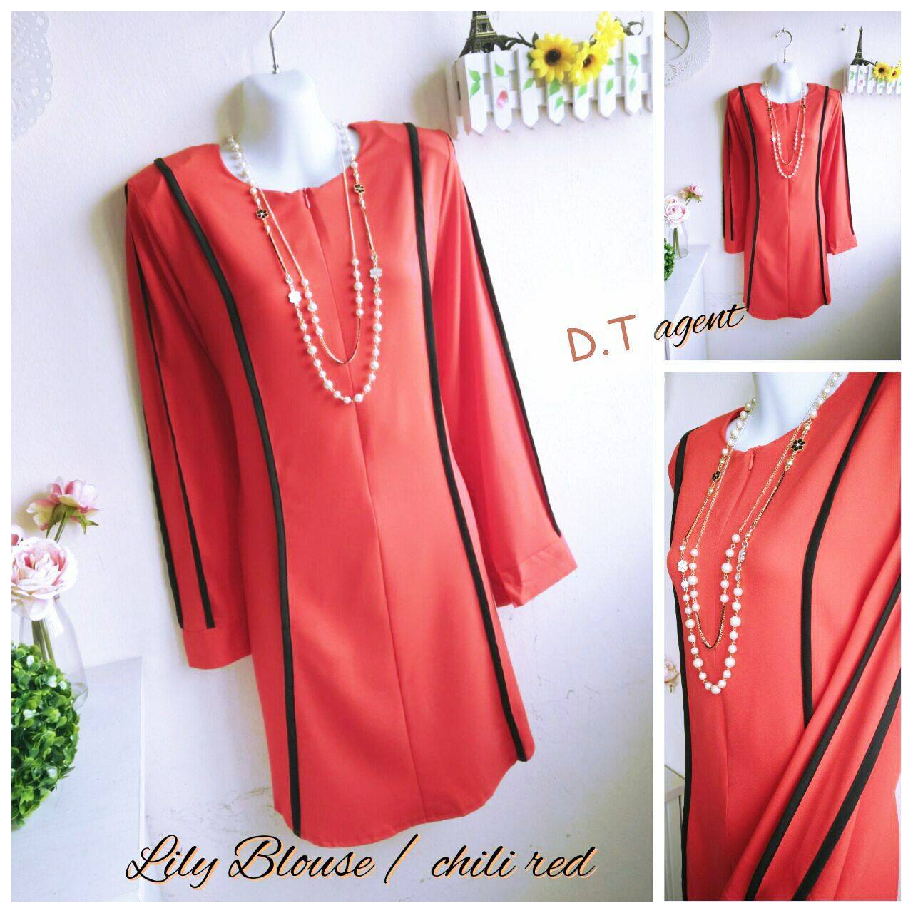 BLOUSE MUSLIMAH CREPE LILY RED