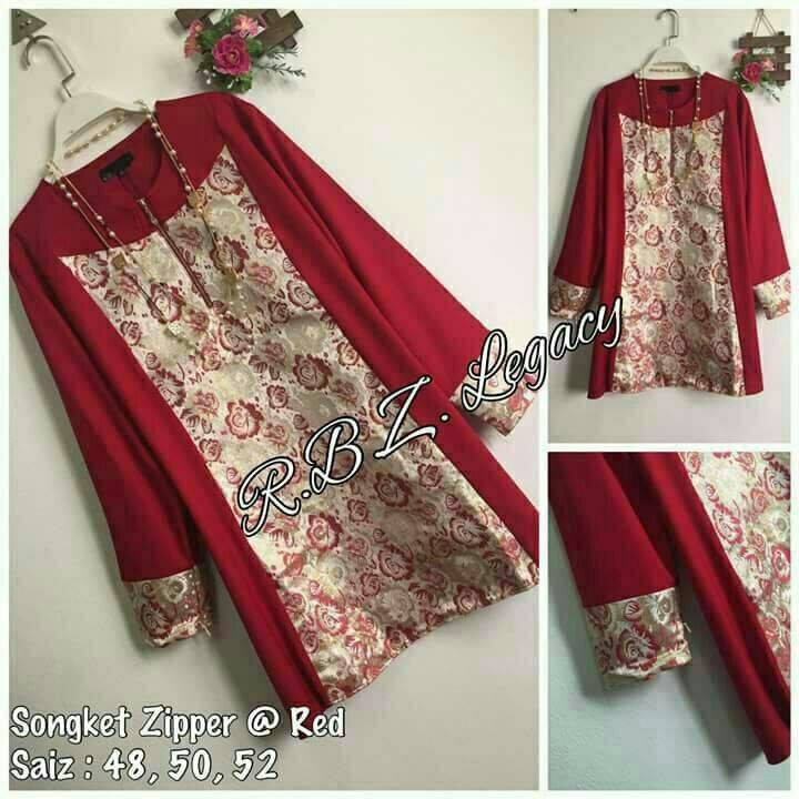 BLOUSE MUSLIMAH SONGKET ZIPPER LILY RED