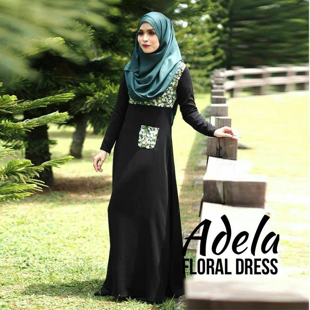 DRESS MUSLIMAH ADELIA FLORAL BLACK A
