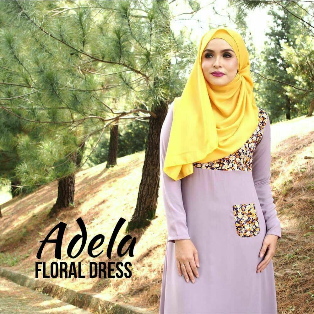 DRESS MUSLIMAH ADELA FLORAL DUSTY PLUM B