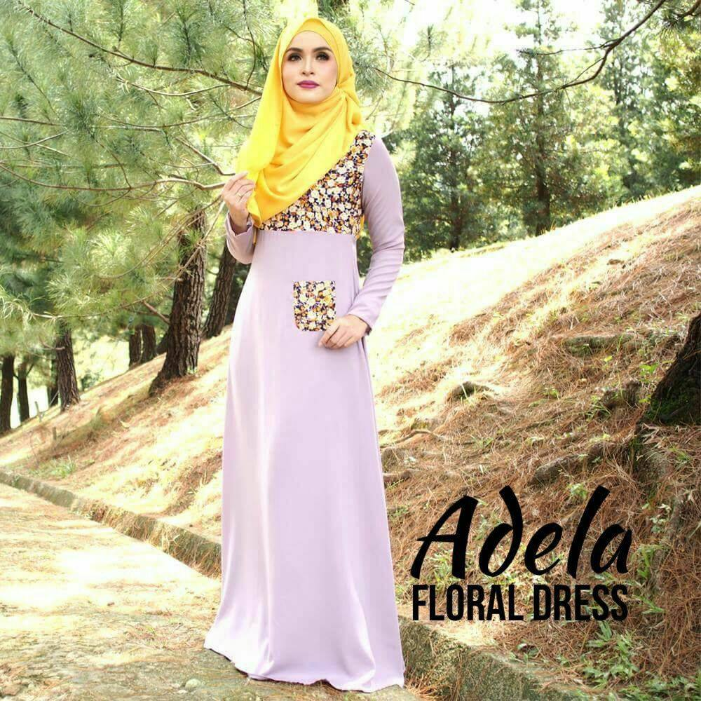 DRESS MUSLIMAH ADELA FLORAL DUSTY PLUM