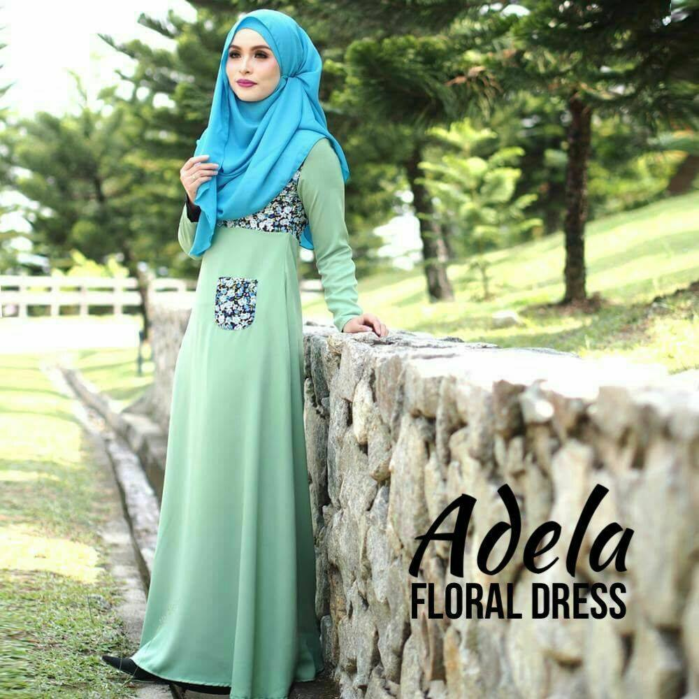 DRESS MUSLIMAH ADELA FLORAL GREEN B