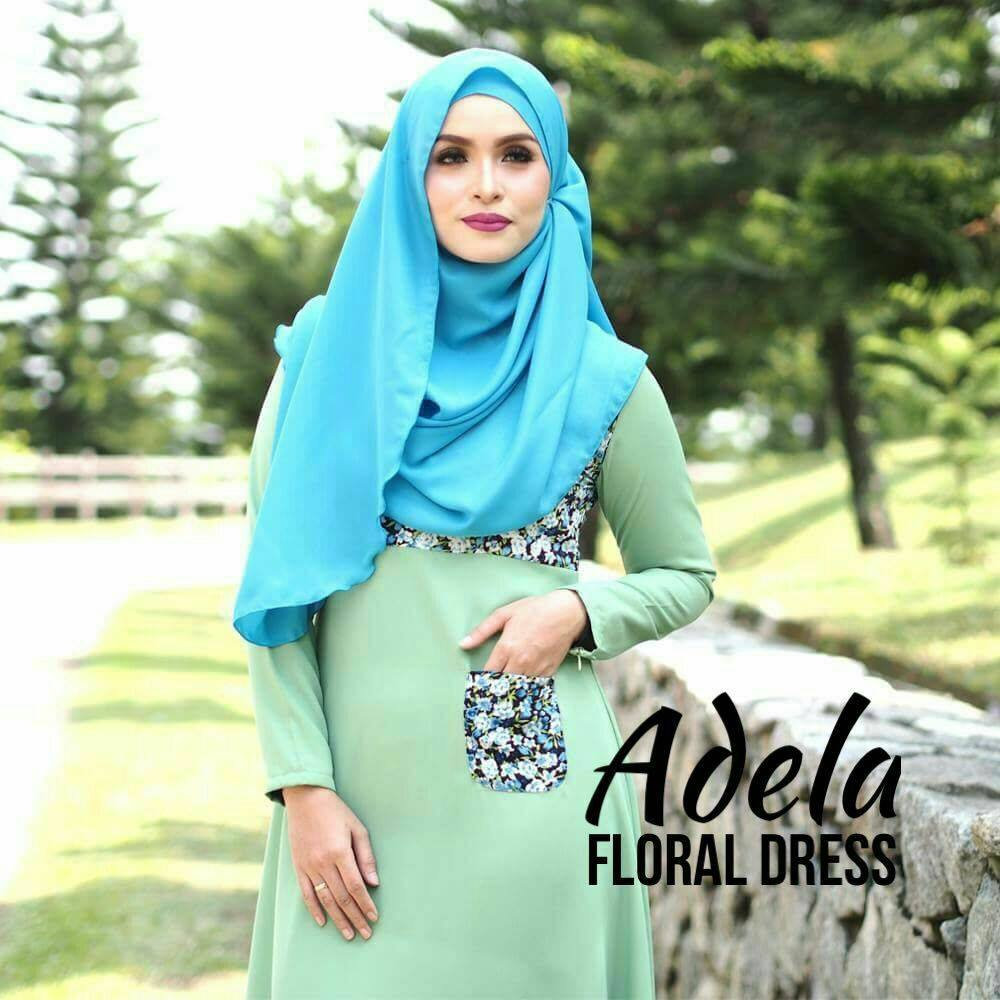 DRESS MUSLIMAH ADELIA FLORAL GREEN C
