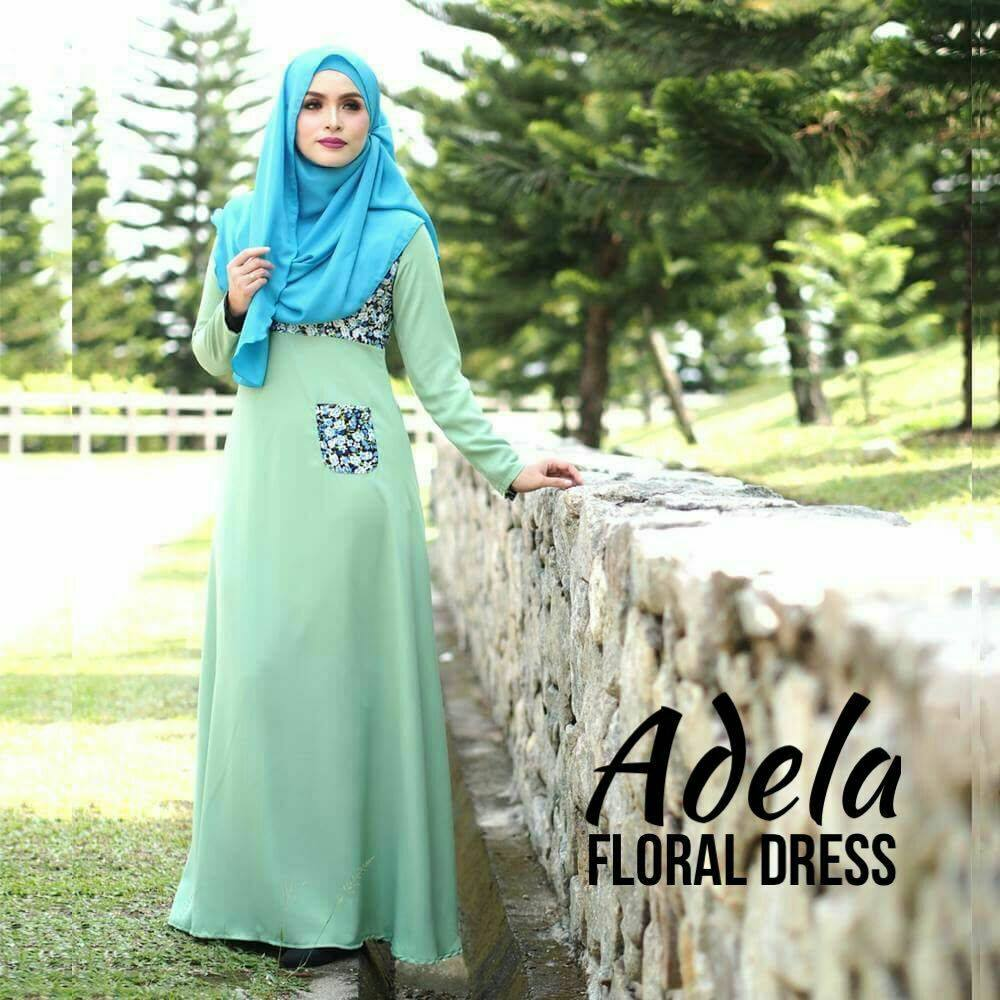 DRESS MUSLIMAH ADELIA FLORAL GREEN