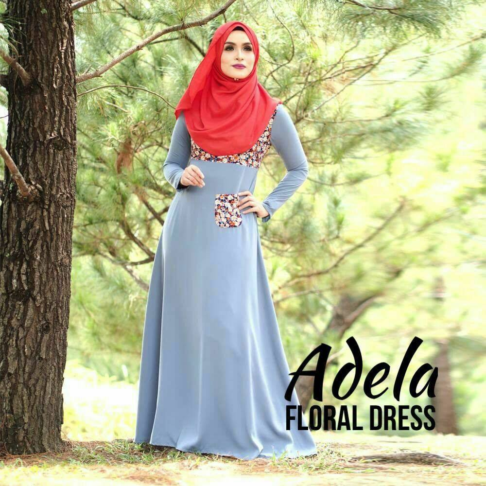 DRESS MUSLIMAH ADELA FLORAL GREY B