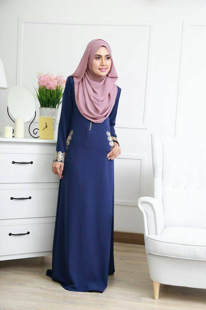 DRESS MUSLIMAH COMO CREPE MARYAM DARK BLUE