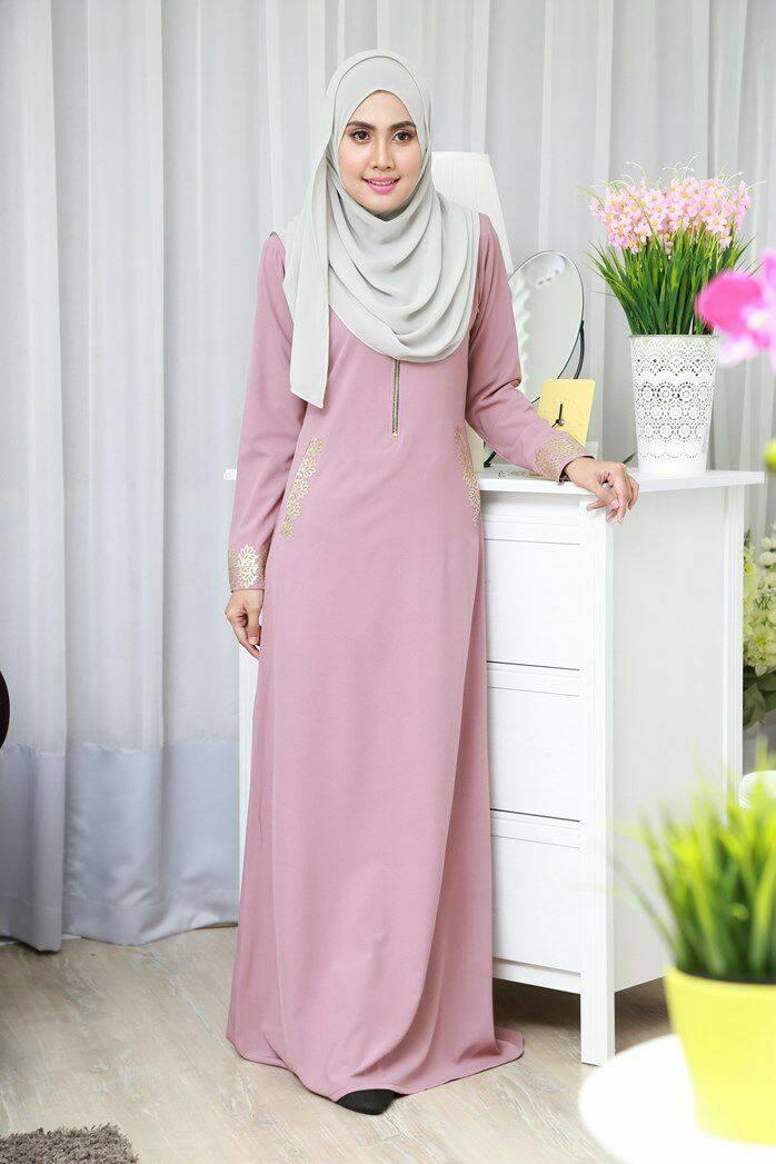 DRESS MUSLIMAH COMO CREPE MARYAM DUSTY PINK