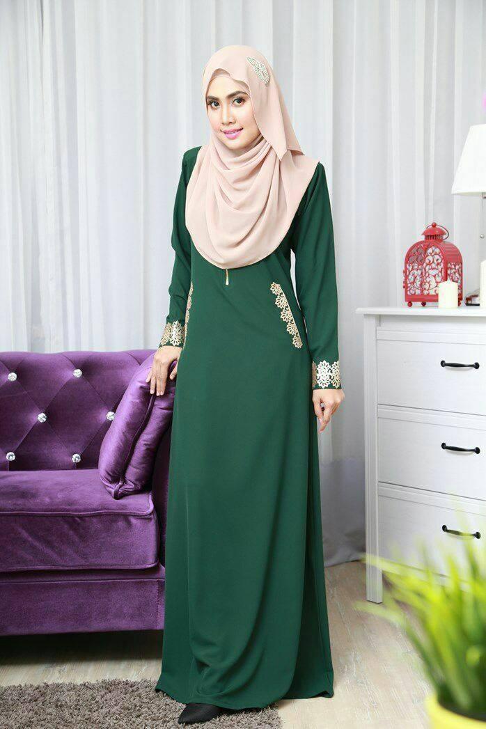 DRESS MUSLIMAH COMO CREPE MARYAM EMERALD GREEN