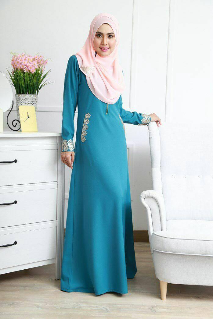 DRESS MUSLIMAH COMO CREPE MARYAM GREEN