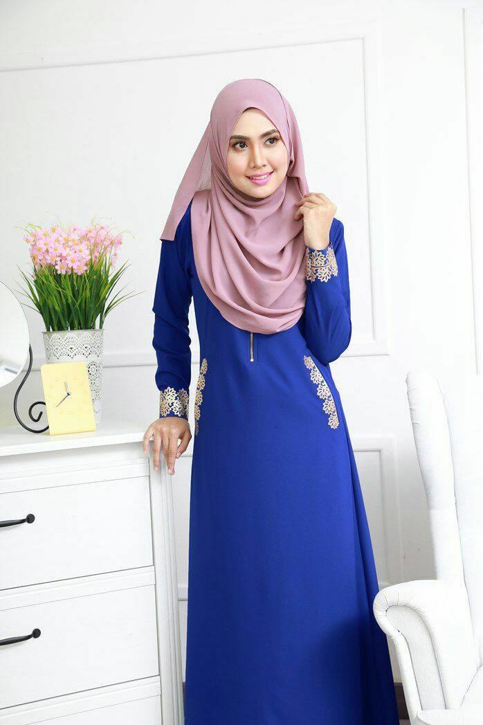 DRESS MUSLIMAH COMO CREPE MARYAM SKY BLUE