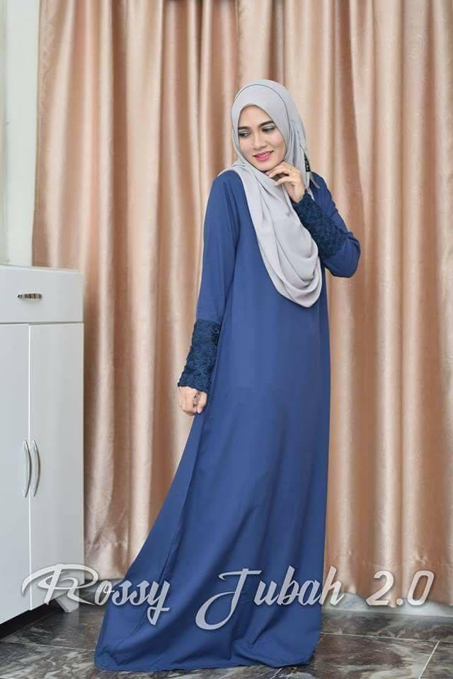 DRESS MUSLIMAH CREPE ROSSY ELEGANT BLUE