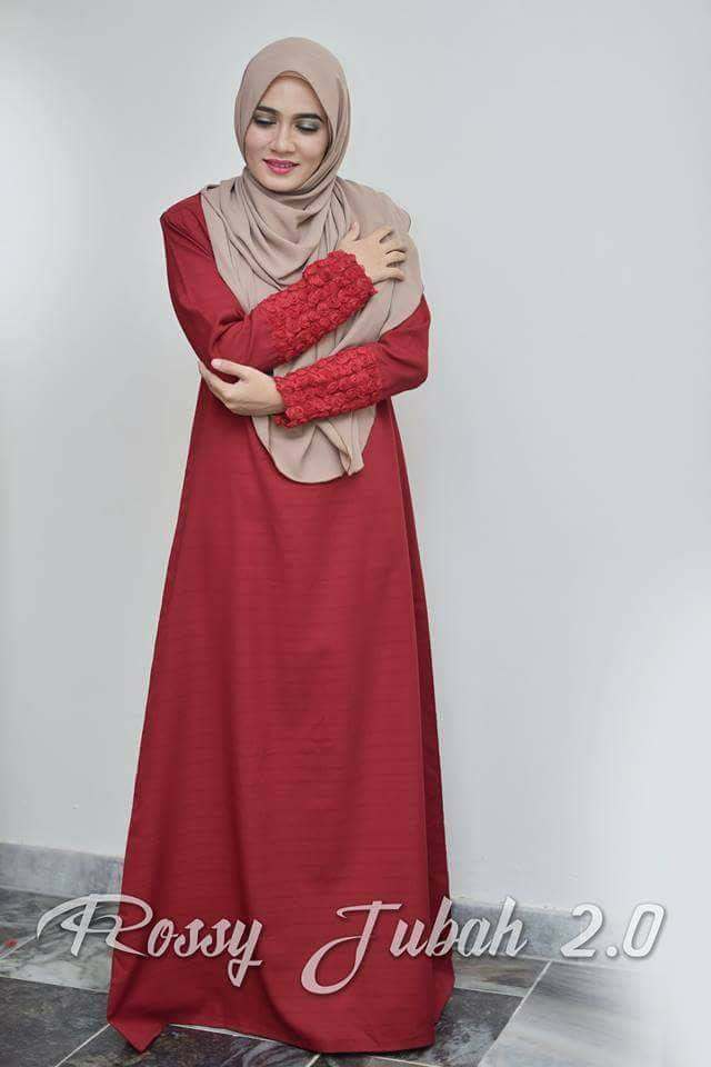DRESS MUSLIMAH CREPE ROSSY ELEGANT RED