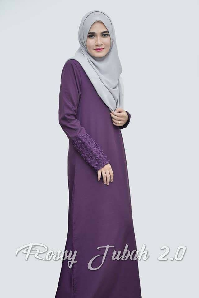 DRESS MUSLIMAH CREPE ROSSY PURPLE