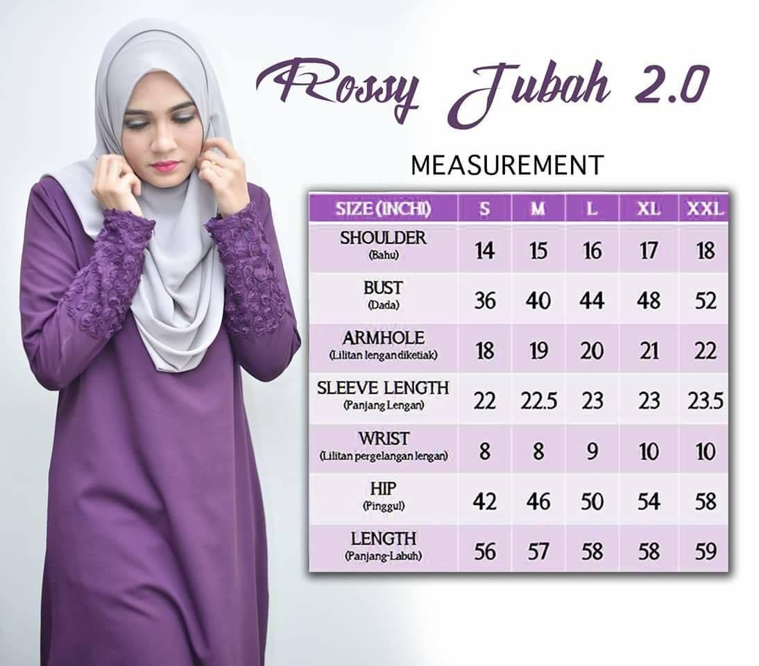 DRESS MUSLIMAH CREPE ROSSY UKURAN