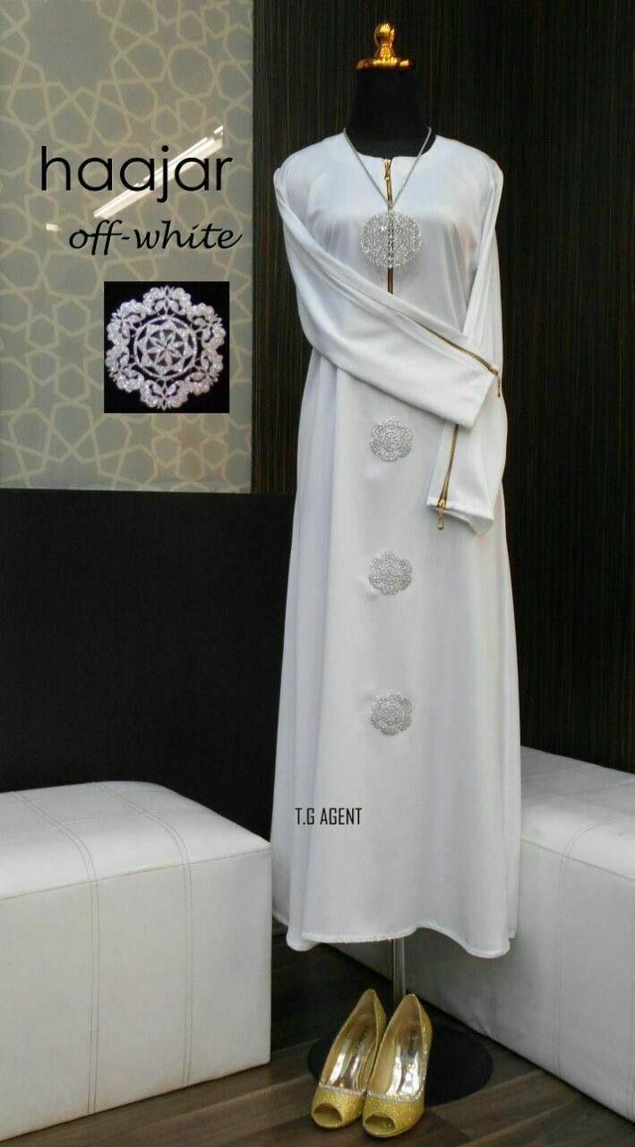 DRESS MUSLIMAH DULL SATIN HAJAR OFF-WHITE