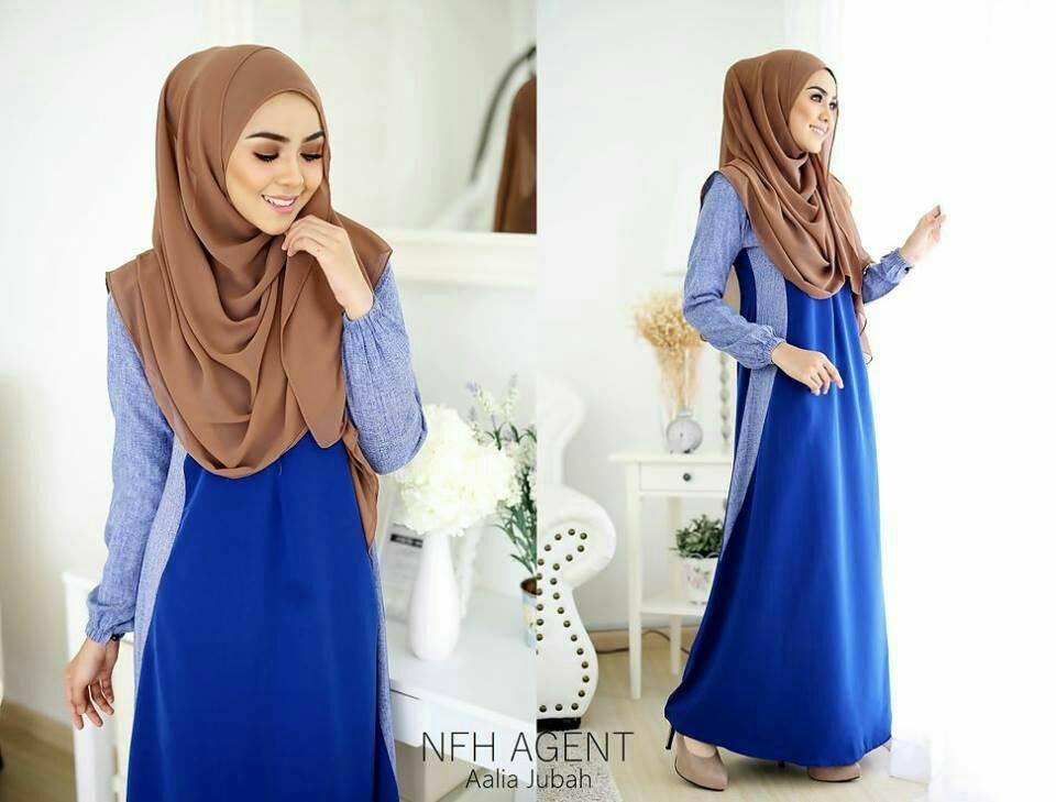 DRESS MUSLIMAH MOSS CREPE AALIA NAVY BLUE