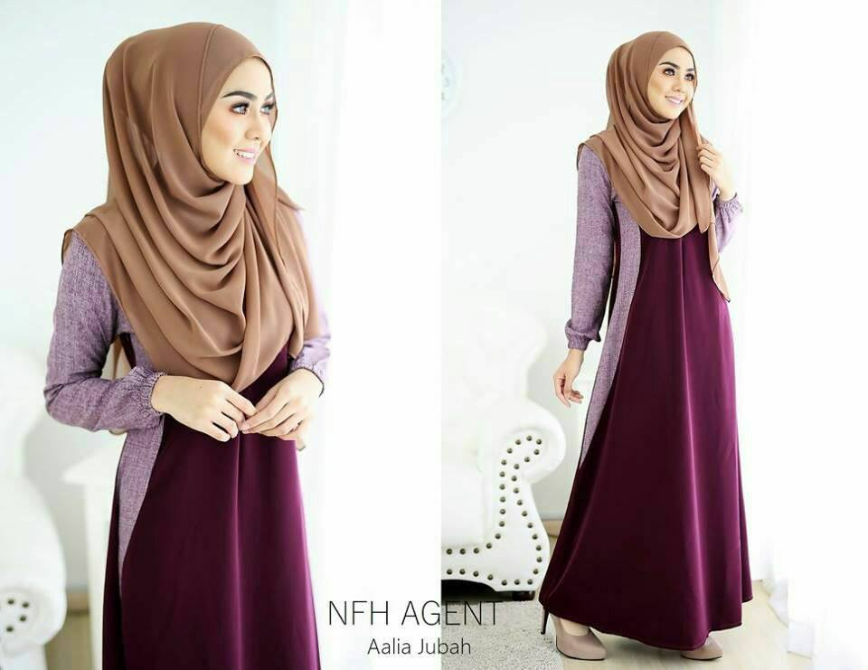 DRESS MUSLIMAH MOSS CREPE AALIA SWEET PURPLE
