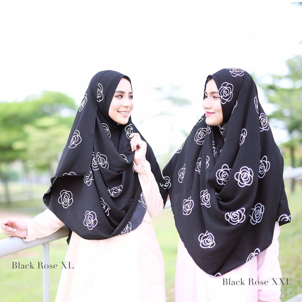 INSTANT SHAWL HUSNA LABUH BLACK ROSE