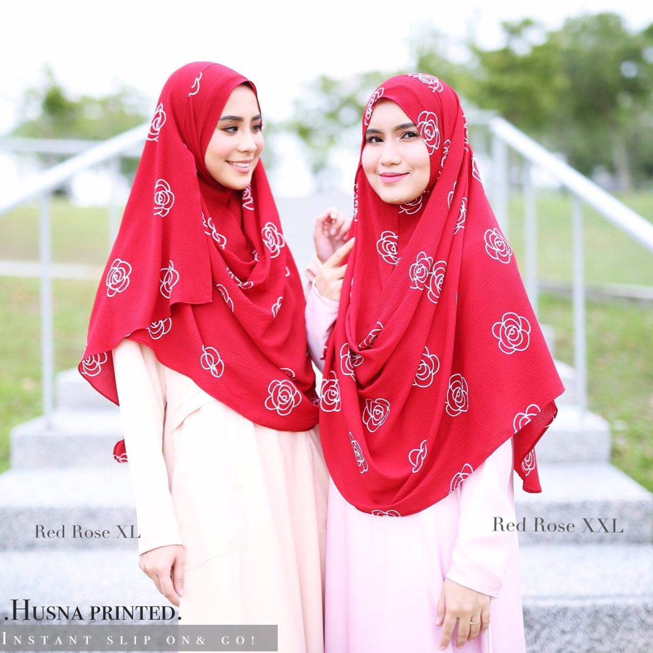 INSTANT SHAWL HUSNA LABUH RED ROSE