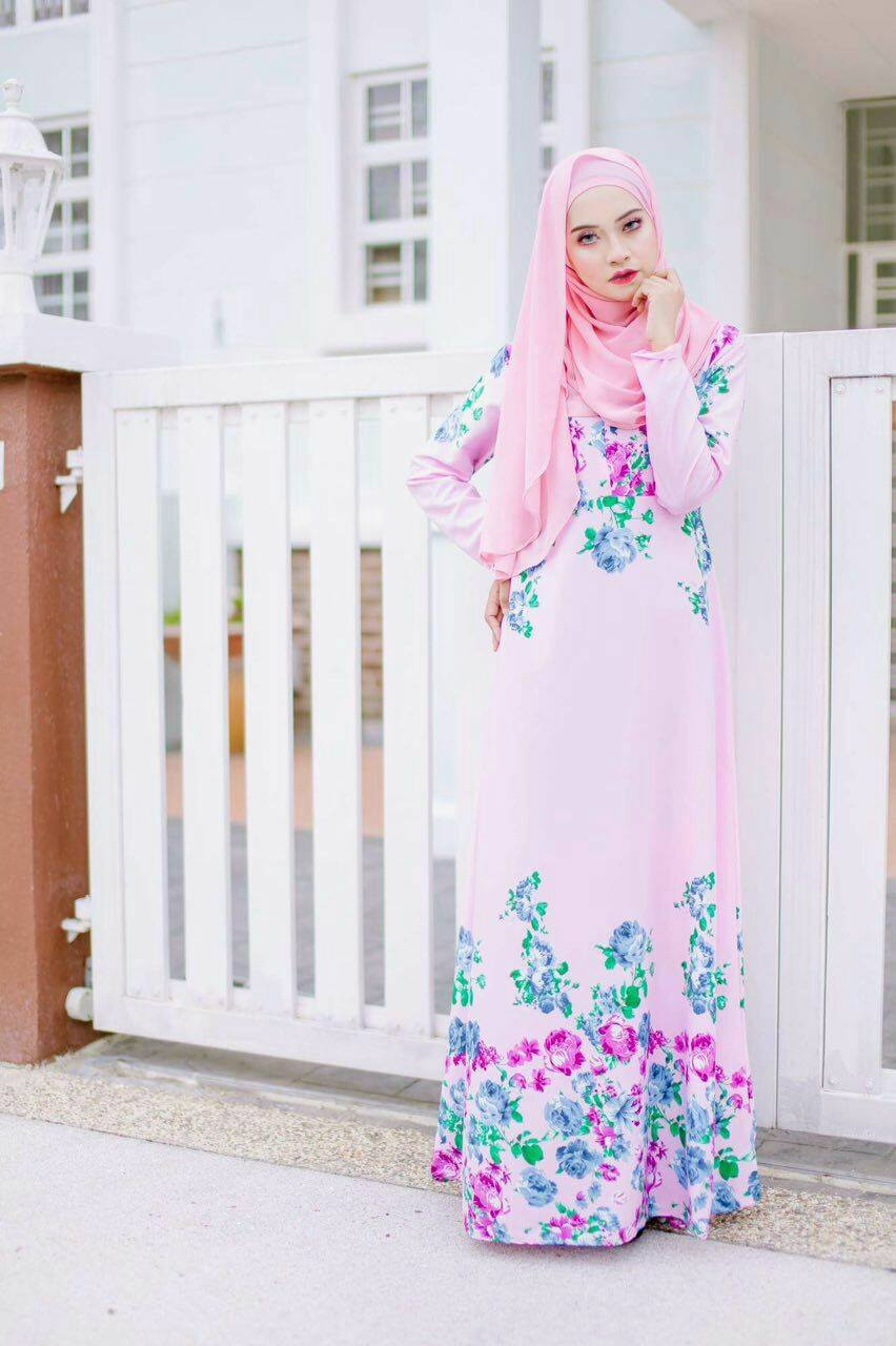 JUBAH SYIFFA POLISTER FLORAL PINK A