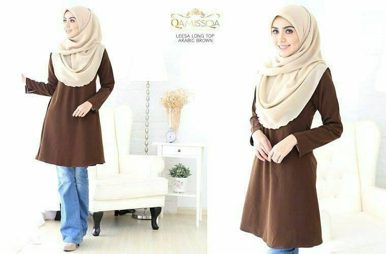 LONG TOP CREPE MUSLIMAH LEESA ARABIC BROWN