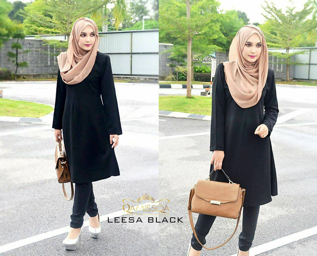 LONG TOP CREPE MUSLIMAH LEESA BLACK A