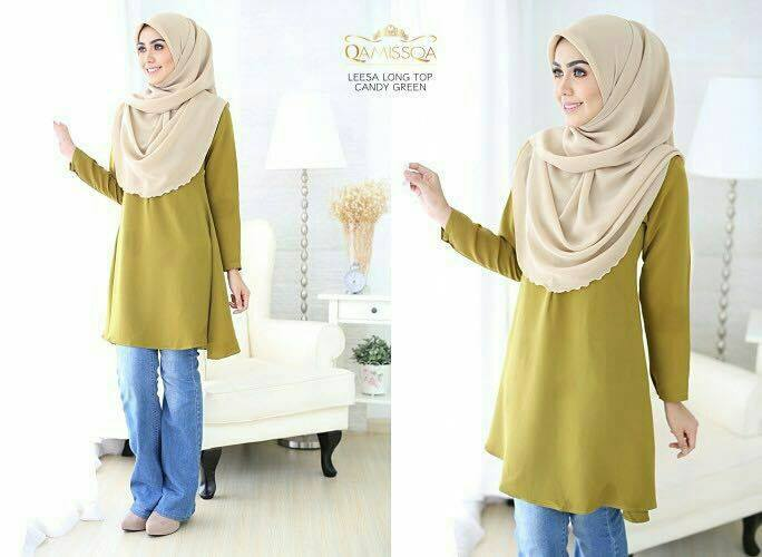 LONG TOP CREPE MUSLIMAH LEESA CANDY GREEN A
