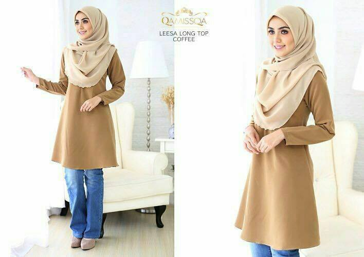 LONG TOP CREPE MUSLIMAH LEESA COFFEE A