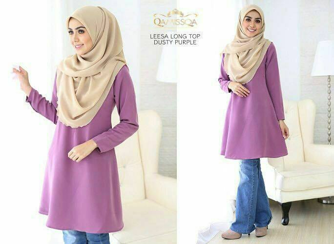 LONG TOP CREPE MUSLIMAH LEESA DUSTY PURPLE A