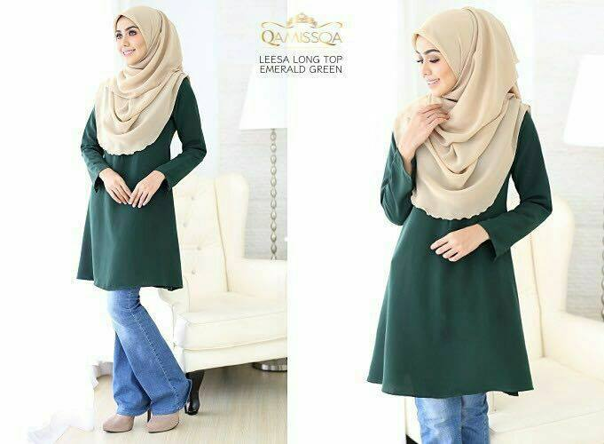 LONG TOP CREPE MUSLIMAH LEESA EMERALD GREEN A