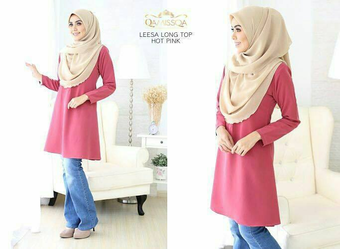 LONG TOP CREPE MUSLIMAH LEESA HOT PINK A