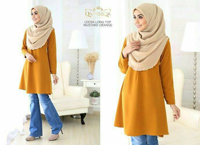 LONG TOP CREPE MUSLIMAH LEESA MUSTARD ORANGE A