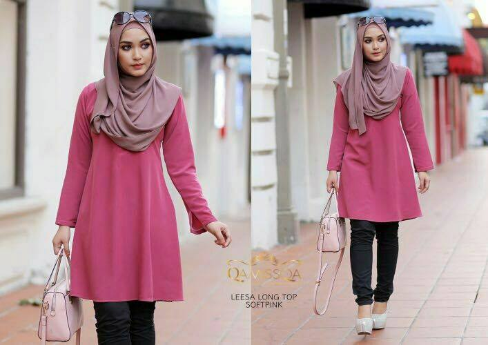 LONG TOP CREPE MUSLIMAH LEESA SOFT PINK A