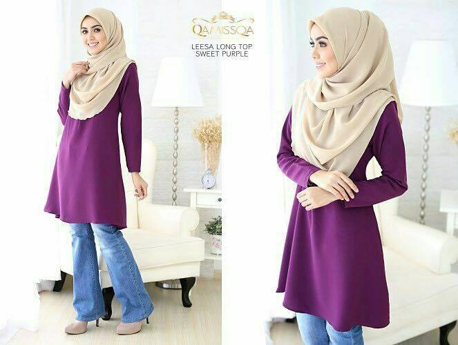 LONG TOP CREPE MUSLIMAH LEESA SWEET PURPLE A