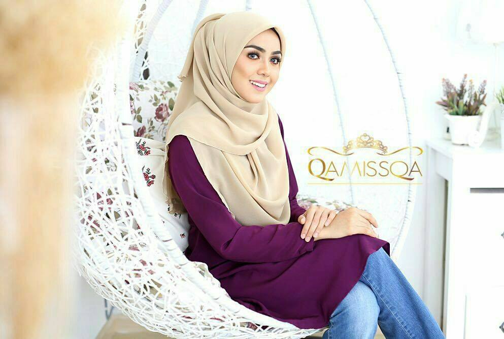 LONG TOP CREPE MUSLIMAH LEESA SWEET PURPLE B