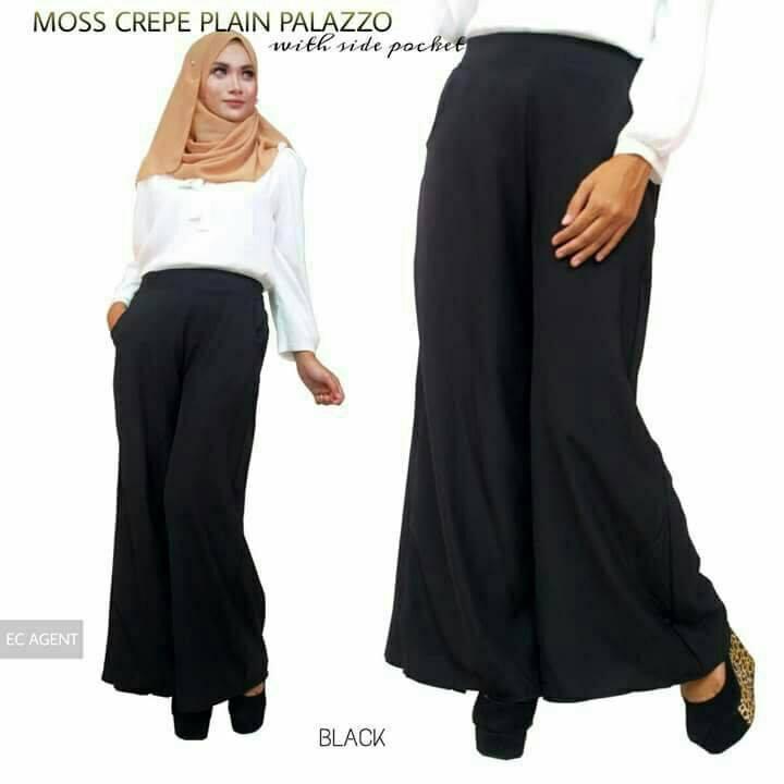 PALAZZO MUSLIMAH LONGGAR MOSS CREPE BLACK