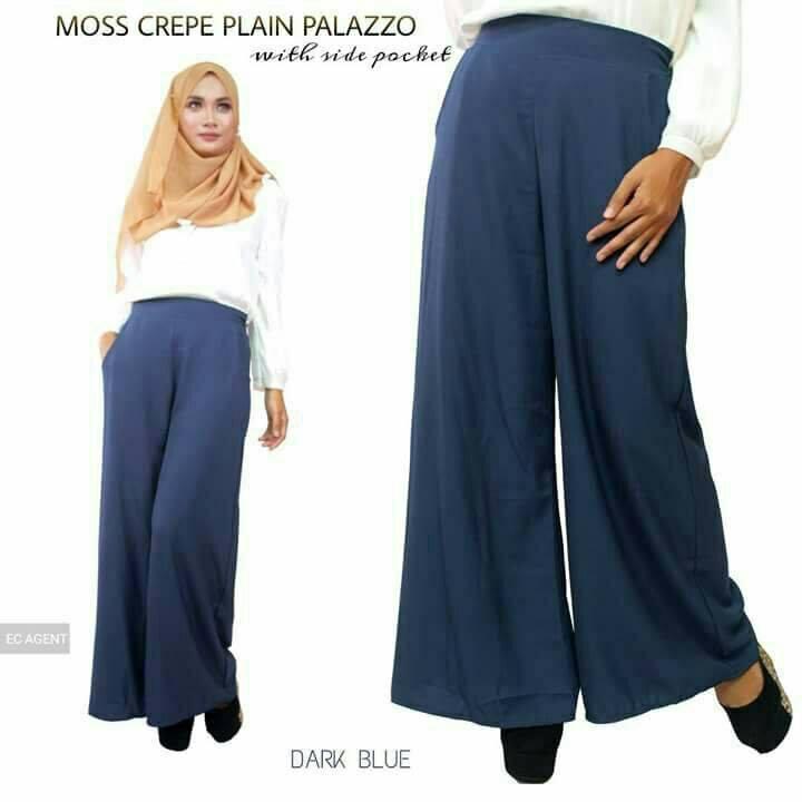 PALAZZO MUSLIMAH LONGGAR MOSS CREPE DARK BLUE
