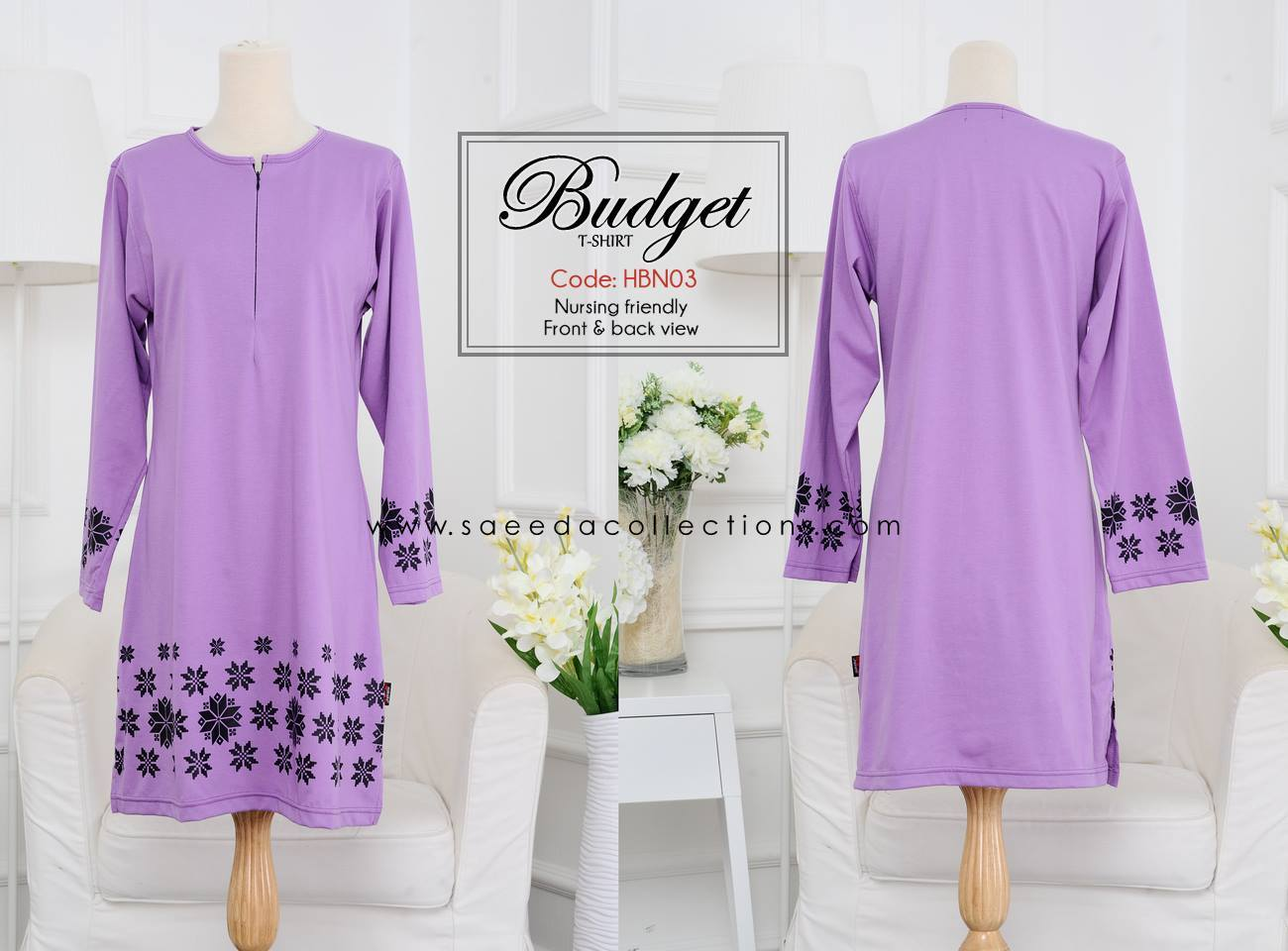 TSHIRT MUSLIMAH COTTON NURSING HBN03 FULL