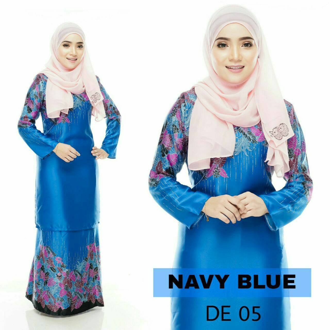 BAJU KURUNG MODEN DELIA ROYAL SILK NAVY BLUE