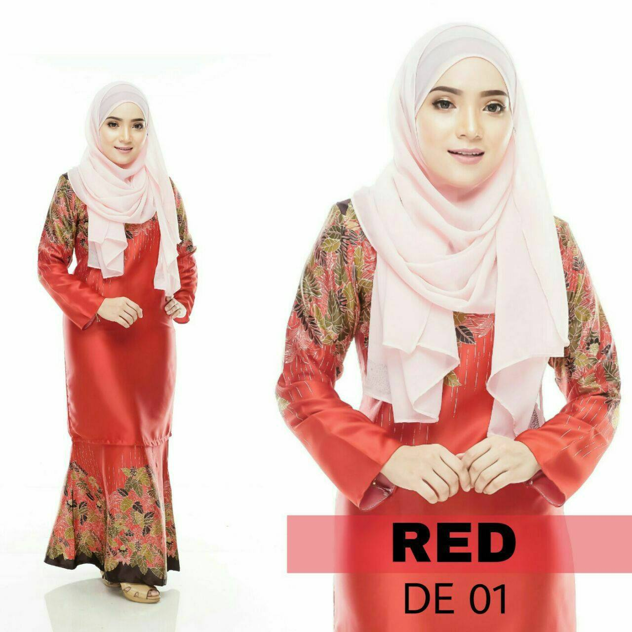 BAJU KURUNG MODEN DELIA ROYAL SILK RED