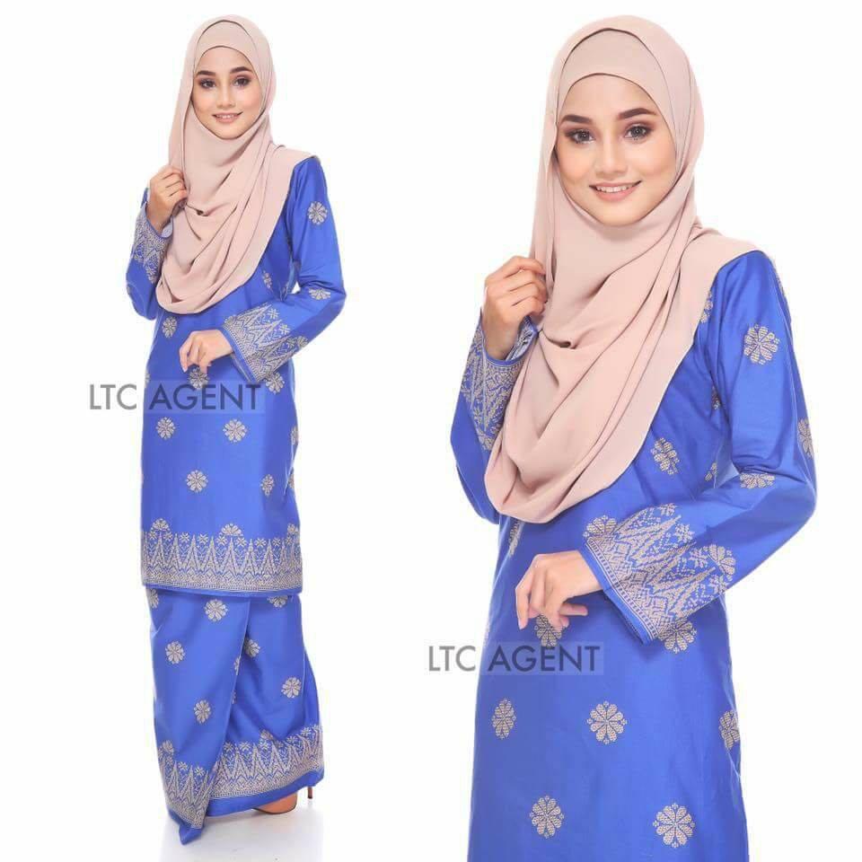 baju-kurung-moden-songket-bunga-tabur-biru