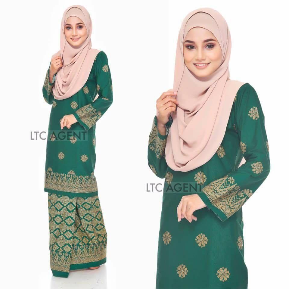 baju-kurung-moden-songket-bunga-tabur-hijau